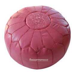 MOROCCAN LEATHER FOOTSTOOL OTTOMAN STYLE LARGE POUF, POUFFE PINK - 20'' Diameter and 12'' Tall .