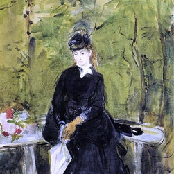 "Berthe Morisot Young Lady Seated on a Bench - 16"" x 24"" Premium Archival Print - 16"" x 24"" Berthe Morisot Young Lady Seated on a Bench premium archival print reproduced to meet museum quality standards. Our museum quality archival prints are produced using high-precision print technology for a more accurate reproduction printed on high quality, heavyweight matte presentation paper with fade-resistant, archival inks. Our progressive business model allows us to offer works of art to you at the best wholesale pricing, significantly less than art gallery prices, affordable to all. This line of artwork is produced with extra white border space (if you choose to have it framed, for your framer to work with to frame properly or utilize a larger mat and/or frame).  We present a comprehensive collection of exceptional art reproductions byBerthe Morisot."