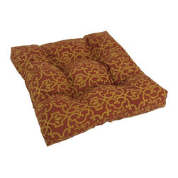 Blazing Needles - Outdoor Square Rocker/ Chair Cushion - Available in a scroll, stripe, or floral designs, these stylish tufted outdoor chair cushions resist fading from the sun. The plush filling offers supreme comfort, and the red-and-tan colors will look superb with wood and iron furniture.