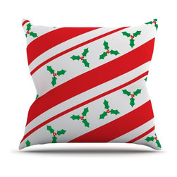 """Kess InHouse - KESS Original """"Holiday Holly"""" Christmas Holiday Throw Pillow (Outdoor, 26"""" x 26"""" - Decorate your backyard, patio or even take it on a picnic with the Kess Inhouse outdoor throw pillow! Complete your backyard by adding unique artwork, patterns, illustrations and colors! Be the envy of your neighbors and friends with this long lasting outdoor artistic and innovative pillow. These pillows are printed on both sides for added pizzazz!"""
