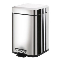 Gedy - Square Polished Chrome Waste Bin With Pedal - Modern, small rectangular waste bin with pedal and cover.