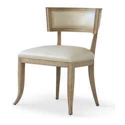 Kathy Kuo Home - Minnelli Hollywood Regency Ivory Leather Dining Chair - Stylish comfort invites your guests to relax and stay a little longer. Supple beige cowhide covers the firm seat and back cushions, complementing the natural wood finish of the classic frame. At the dining room table or in a cozy corner, this is the best seat in the house.