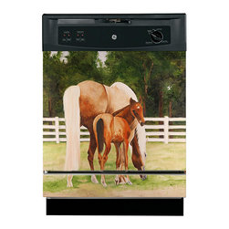 Appliance Art - Appliance Art 'Horse and Colt' Dishwasher Cover - This equine dishwasher cover is perfect for adding a touch of country charm to your kitchen and for hiding those unsightly scratches and dents. This magnetic 'Horse and Colt' cover creates a serene ambiance the whole family will enjoy.