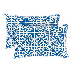 None - 19x12-inch Rectangular Outdoor Indigo Accent Pillows (Set of 2) - These durable,blue outdoor accent pillows are super soft to the touch due to their plush polyester filling. This set of two comfortable,weather-resistant pillows would bring an eye-catching contemporary accent to your outdoor living space.