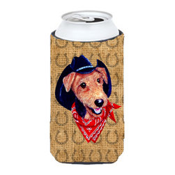 Caroline's Treasures - Airedale Dog Country Lucky Horseshoe Tall Boy Koozie Hugger - Airedale Dog Country Lucky Horseshoe Tall Boy Koozie Hugger Fits 22 oz. to 24 oz. cans or pint bottles. Great collapsible koozie for Energy Drinks or large Iced Tea beverages. Great to keep track of your beverage and add a bit of flair to a gathering. Match with one of the insulated coolers or coasters for a nice gift pack. Wash the hugger in your dishwasher or clothes washer. Design will not come off.