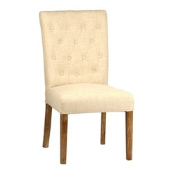 Summer Dining Chair - The Summer Dining Chair showcases casual elegance with natural linen upholstery, button tufting, and weathered wood legs.