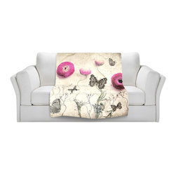 DiaNoche Designs - Throw Blanket Fleece - Monika Strigel Vintage Butterfly - Original Artwork printed to an ultra soft fleece Blanket for a unique look and feel of your living room couch or bedroom space.  DiaNoche Designs uses images from artists all over the world to create Illuminated art, Canvas Art, Sheets, Pillows, Duvets, Blankets and many other items that you can print to.  Every purchase supports an artist!