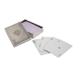 Wisteria Playing Cards and Case - Play a round of Go Fish, Black Jack, or 52 Pickup. You can always use a full deck of cards to pull out when friends gather! Or add them to your next gift basket. Comes in a metal ace of spades box.