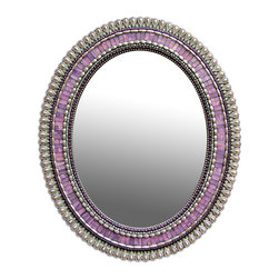 Zetamari Mosaic Artworks - Purple Drop, 22x28 Oval - Intricate glass mosaic mirror handmade by artist Angie Heinrich of Zetamari Mosaic Artworks. This mirror features shimmering, hand-shaped glass tiles, beads, and metal that come together to create a soft and soothing jewel for your wall.
