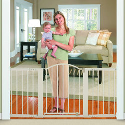 Summer Infant - Sure and Secure Metal Expansion Gate (3l) - For parents looking for a secure metal gate that will fit in those larger openings, there's the Summer Infant Sure and Secure 6 Foot Metal Expansion Gate. The hardware mounts securely in place and has a convenient walk-thru door for easy access between rooms. Features: -Gate.-Secure hardware mounted design.-Great for double doorways and extra-wide openings.-One-handed stylish arched walk thru door.-4 Extensions included.-Distressed: No.Dimensions: -30'' H x 44-72'' W.