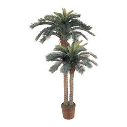 Nearly Natural - 6' & 4' Sago Palm Double Potted Silk Tree - This double potted silk Sago Palm tree is simply paradise! It features two beautiful stalks of Sago Palms; one 4'and one 6'. This tree boats 80 green leaves and is set in a 10' brown basket. The trunks themselves are browning in spots and feature the texture of a real palm. This breath taking tree is the perfect accent piece to any home decor. Color: Green, Height: 6' & 4'.