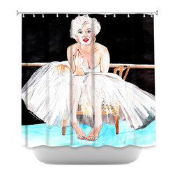 DiaNoche Designs - Shower Curtain Artistic Marilyn Ballerina - DiaNoche Designs works with artists from around the world to bring unique, artistic products to decorate all aspects of your home.  Our designer Shower Curtains will be the talk of every guest to visit your bathroom!  Our Shower Curtains have Sewn reinforced holes for curtain rings, Shower Curtain Rings Not Included.  Dye Sublimation printing adheres the ink to the material for long life and durability. Machine Wash upon arrival for maximum softness on cold and dry low.  Printed in USA.