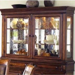 Legacy Larkspur China Cabinet - The Legacy Larkspur China Cabinet brings relaxed refinement to the contemporary rustic dining room, with a combination buffet and hutch that's painstakingly crafted from genuine pine solids and birch veneers. This cabinet's classic elements include drawers with English dovetail joinery for added strength, and it comes with storage and display features such as a lighted hutch with glass shelves and plate grooves, and a silver storage tray and wine rack within the buffet.About Legacy Classic FurnitureCommitted to offering the best of today's youth-bedroom styles for the young and young at heart, Legacy Classic Furniture offers a wide selection of best selling designs and finishes with a large variety of beds and storage and study options. Dedicated to providing outstanding quality at reasonable prices, Legacy Classic Furniture employs quality materials, proven construction techniques, and the highest safety standards to manufacture exceptional products that are built to last a lifetime.Note about drawer features:All Legacy products use Kenlin's Rite-Trak drawer guide system. Exceptionally quiet and smooth, this system features positive stops and close tolerances for better drawer fit. Kenlin drawer guides are made with precision steel guides and runners, permanent lubrication, and specially engineered plastic components for years of reliable performance.