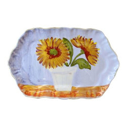 """Vietri Sara's Flowers Rectangular Scalloped Serving Plate - Artisan Sara Bellini has created this exclusive new item, in honor of VIETRI's 30th anniversary.  Made of terra bianca and handpainted in Tuscany. Dishwasher safe. This piece measures approximately 10.5""""L x 6.75""""w."""