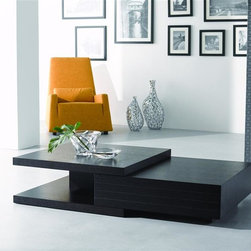 New Spec - Modern Coffee Table w Drawer & Split Top - Color/Finish: Wenge. Material: Tempered Glass/ Mfd Laminate. . 47.24 in. L x 27.55 in. W x 12 in. H (95 lbs)