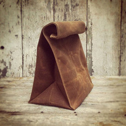 Waxed Canvas Lunch Bag - Whiskey - Gifting socks again? This year, show him a little extra love with this reusable waxed canvas lunch bag. Spacious enough to hold a hearty lunch, the bag begs to be used daily. Wipe it clean, roll it down to close, and out the door he goes.
