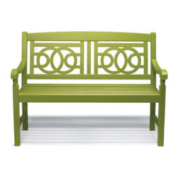 Grandin Road - Amalfi Outdoor Bench - Outdoor bench with a geometric seat back design. Crafted from durable, all-weather hardwoods. Hand-applied urethane finish&emdash;no two are exactly alike. Annual application of urethane recommended to preserve the all-weather finish. Simple assembly. As featured in HGTV Magazine, our customer-favorite Amalfi bench is an inviting sight (and seat) at any threshold. At this price, you'll want to add one in the garden and on the balcony, too. – Grandin Road Editors Park the Amalfi bench beside your front door, on the patio or in a sun-dappled spot in the backyard. Wherever Amalfi goes, so follows the timeless style of a classic park bench made complete with a simple, elegant geometric design. Gracefully curving arms, scrolled details and a comfortably contoured seat give you the perfect alfresco perch; all you have to do is select a color.  .  .  .  .  .