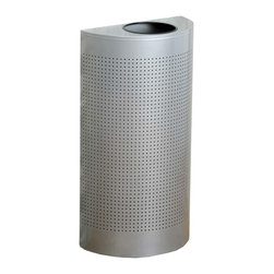 United Receptacle - United Receptacle Open Top Half Round Waste Can, 12 Gallon, Semicircular - Metallic waste receptacle offers a half-round shape with perforated steel sides. Wall-hugging design is ideal for areas where space is limited. Fire-safe, corrosion-proof heavy-gauge steel has a metallic powder-coat finish. Half-round receptacle features a 7 diameter, vinyl-trimmed opening for easy disposal of refuse and a leakproof plastic liner. Liftoff design makes emptying the rigid plastic liner easy. ADA compliant receptacle is 100 percent recyclable.