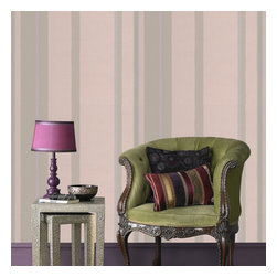 Graham & Brown - Hoppen Stripe Wallpaper - Stripes are a really effective way to create a bespoke look as they can be hung either horizontally or vertically depending on your desire to create either width or height, this structured stripe features metallic elements for a sophisticated finish, the linen effect infill also helps to disguise any wall imperfections so no matter what style of house you live in you can create the Kelly Hoppen look. This taupe and moss striped wallpaper design co-ordinates perfectly with the linen texture design so you can create your individual look.