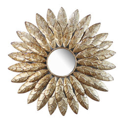Hazelwood Home Round Mirror - How chic is this sunburst mirror with a feather design? I love it!