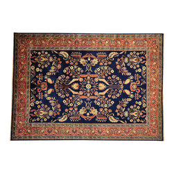 Hand Knotted Sarouk Fereghan Revival New Zealand Wool 9x13 Oriental Rug SH14630 - This collection consists of fine knotted rugs.  The knots per square inch means more material in the rug as well as more labor.  This leads to a finer rug and a more expoensive rug.  Classical and traditional persian motifs are usually used as designs in these rugs.