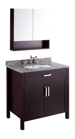 Bosconi - 36'' Bosconi SB-252 Vanity Set - A rich dark espresso finish covers this contemporary, single-sink vanity that also includes a matching medicine cabinet. You'll enjoy the ample storage space of the cabinet, which is crafted from solid birch wood — ensuring long-lasting durability. Silver-tone hardware completes this set's stunning aesthetic.