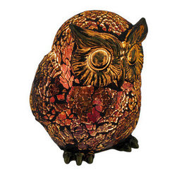 Amber Crackle Glass Owl Accent Lamp Bronzed Base - This beautiful amber crackle glass octopus shaped lamp adds the perfect accent to desks or nightstands of owl lovers. Measuring 5 1/2 inches tall, 4 1/2 inches wide and 4 1/2 inches deep, the lamp features an antiqued bronze finished metal base and owl`s head, with the body of the owl made of amber crackled glass. The lamp is brand new, never used or displayed. It uses one nightlight style bulb (included). It makes a great gift idea. We have a very limited supply of these, so don`t delay. Get yours now!