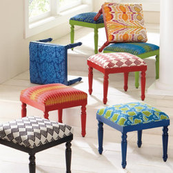 Grandin Road - Samira Ottoman - Select your own playful ottoman. Each is upholstered in one of eight colorful cotton prints. Solid mango wood base is hand painted to coordinate with each pattern you select. Supportive polyester cushion. Simple assembly to attach legs. Our bold and cheerful Samira Ottoman is sure to wake up any room. Have a seat or settle a tray upon hardwood turned legs dressed up with a vivid cotton print and finished with matching corded trim.  .  .  .  .  . Coordinates perfectly with our Samira Pillows . Imported.