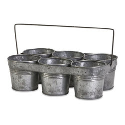 IMAX CORPORATION - Galvanized 6-Pot Flower Caddy - This set of six galvanized flower pots come in a handled caddy perfect for multiple plants. Also makes a great industrial chic storage container for desk top items!. Find home furnishings, decor, and accessories from Posh Urban Furnishings. Beautiful, stylish furniture and decor that will brighten your home instantly. Shop modern, traditional, vintage, and world designs.