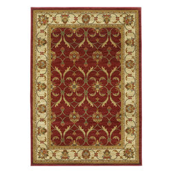 "Lifestyles 5468 Red/Ivory Agra Rug - Lifestyles 5468 Red/Ivory Agra 23"" x 35"". Machine-Made of 100% Heat-set Polypropelene with No Backing. Made in Turkey. Vacuum regularly & spot clean stains. Professional cleaning recommended periodically."