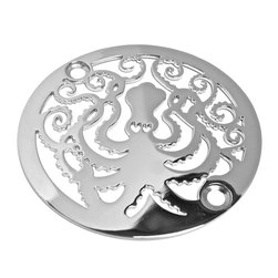 "Designer Drains - Octopus Shower Drain, Polished Stainless Steel - Polished Stainless Steel drain made to fit Oatey, Sioux Chief, frank Pattern, AB&A, Brass Tech and Mountain Plumbing drain roughs.  Measures 1/16"" thick x 3-1/4"" outside diameter x 2-13/16"" center to center of the fasteners. Made in U.S.A.  Please confirm your original drain measurements before placing an order."