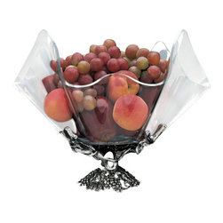 Arthur Court - Grapevine Stand 14'' Clear Acrylic Bowl - This remarkable bowl is (clearly) a standout for your dining or coffee table. Cultivate the grapevine theme and use it as a centerpiece for fruit. Its smart translucent shell allows admirers to take in nothing but natural beauty.