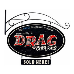 Past Time Signs - Drag Cartoons Double Sided Oval Metal Sign w Wall Mount 14 x 24 Inches - - Width: 14 Inches