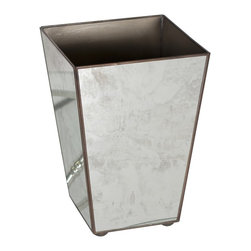 Worlds Away Antique Mirror Square Wastebasket Plain - Worlds away antique mirror square wastebasket plain