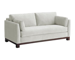 Apt2B - Avalon Sofa, White, 79x37x30 - With its sleek arms and solid wood base, this sofa gives you big style while making a smaller footprint on your floor space, your wallet and the environment. Its smooth, stain-resistant upholstery comes in a handful of soft, neutral colors, including a fab retro blue-green.