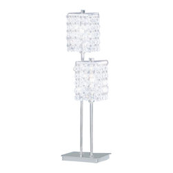 Eglo - Pyton 2 Light Table Lamp - Pyton 2 Light Table Lamp in Chrome Finish and Genuine Lead Crystals.