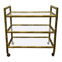 1950's Faux-Bamboo Bar Cart - A late 1950's early 1960's 3 tier, faux-bamboo bar cart with gilt finish. All original.