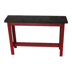 Red-Brown Sofa Console - This beautiful rustic sofa table measures 43L x 11W x 30H and has an awesome color combo of red and brown. The red has been sanded all over and has a light coat of ebony glaze rubbed in to offer a warm earthy rustic look.