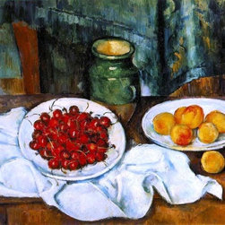 "Paul Cezanne Still Life with a Plate of Cherries Print - 16"" x 20"" Paul Cezanne Still Life with a Plate of Cherries (also known as Cherries and Peaches) premium archival print reproduced to meet museum quality standards. Our museum quality archival prints are produced using high-precision print technology for a more accurate reproduction printed on high quality, heavyweight matte presentation paper with fade-resistant, archival inks. Our progressive business model allows us to offer works of art to you at the best wholesale pricing, significantly less than art gallery prices, affordable to all. This line of artwork is produced with extra white border space (if you choose to have it framed, for your framer to work with to frame properly or utilize a larger mat and/or frame).  We present a comprehensive collection of exceptional art reproductions byPaul Cezanne."