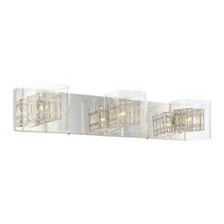 George Kovacs - Jewel Box 3-lt Bath Bar - The chrome base on this intricate lighting fixture highlights the radiant glow from the encased bulbs. The bulbs are set within an aluminum cage covered in glass, adding depths of design to this magnificent bath bar.