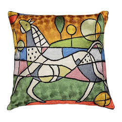 "Modern Silk - Picasso City Horse Decorative Pillow Cover 18"" x 18"" - Picasso City Horse Pillow Cover – This Picasso inspired contemporary modern Horse cushion cover is hand embroidered using chain stitch. Unique design and Picasso cubism make this pillow artful and must for any modern home. It would make an exciting accent pillow for your couch, sofa or home office. Expertly handcrafted chain-stitch embroidery with a design inspired by the works of modern artist. Create a vibrant point of interest for your décor. This decorative pillow is artwork inspired from the famous modern artist Picasso. A close-up view of this abstract pillow cover allows you to see the amazing chain-stitch embroidery work of master artisans who have practiced this art their entire lives.This decorative pillow cover could grace the cabin of your boat or the chair in your solarium and yet be equally as comfortable in your den."