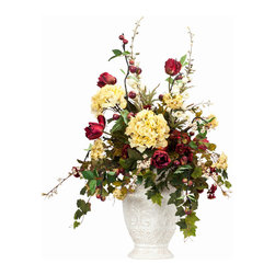 Apples and Hydrangea Silk Flower Arrangement - Abundant apples and hydrangeas in an elegant cream vase make a stunning dining room table centerpiece year-round, but the reds and greens make it especially inviting during the holidays. Place on your mantle, in the middle of a serving buffet or formal dining table, or on the entryway console for beautiful instant decor.