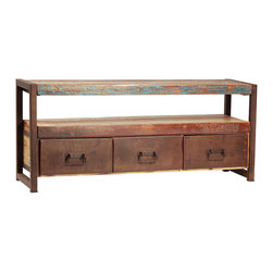 Avila TV Stand, Antiqued Brown - The Avila TV Stand is a rustic and relaxed media console that combines contemporary and traditional elements. Featuring a 58 inch top for large screen televisions, this entertainment center has an open shelf that spans the length of the console. It also has three spacious drawers, ideal for media and accessory storage. This attractive stand is crafted from a steel frame and reclaimed hardwood with an antique brown finish and distressed accents.