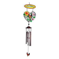 "GWC - 33 Inch Rooster Design Heart Shaped ""Welcome"" Metal Wind Chime - This gorgeous 33 Inch Rooster Design Heart Shaped ""Welcome"" Metal Wind Chime has the finest details and highest quality you will find anywhere! 33 Inch Rooster Design Heart Shaped ""Welcome"" Metal Wind Chime is truly remarkable."