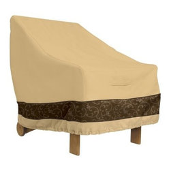 Classic Accessories Veranda Elite Lounge Chair Cover - Pebble - Wind and rain are no match for the Veranda Elite Lounge Chair Cover – Pebble. This cover is easy to use and perfect for keeping your favorite patio furniture protected from the elements. It's designed with a stylish debossed trim, padded handles, click-close straps, air vents, and elastic hem cord for a secure, custom fit. It slips on and off easily and is ideal for daily covering or extended storage in the off season.About Classic AccessoriesFounded from small beginnings, Classic Accessories has grown in the past 30 years from a small basement operation in Seattle's Roosevelt neighborhood making seatbelt pads and steering wheel covers, to a successful and expanding company now making a wide variety of products from car to boat covers and much more. Innovative, stylish designs define products that are functional and made to last. From little details to the largest innovations, Classic Accessories is always moving forward and looking to provide cover and storage solutions to a clientele that has a passion for the outdoors, from backyard gatherings to exciting camping trips, Classic Accessories provides the products that keeps your equipment looking great all season long.