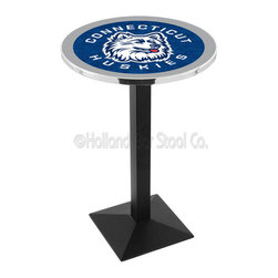 Holland Bar Stool - Holland Bar Stool L217 - Black Wrinkle Connecticut Pub Table - L217 - Black Wrinkle Connecticut Pub Table belongs to College Collection by Holland Bar Stool Made for the ultimate sports fan, impress your buddies with this knockout from Holland Bar Stool. This L217 Connecticut table with square base provides a commercial quality piece to for your Man Cave. You can't find a higher quality logo table on the market. The plating grade steel used to build the frame ensures it will withstand the abuse of the rowdiest of friends for years to come. The structure is powder-coated black wrinkle to ensure a rich, sleek, long lasting finish. If you're finishing your bar or game room, do it right with a table from Holland Bar Stool. Pub Table (1)
