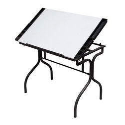 Studio Designs - Studio Designs Folding Craft Station-Black Trim with White Top - 13221 - Shop for Art Easels from Hayneedle.com! You sit at such a desk to create professional-quality work so why should your desk demonstrate anything less? The Studio Designs Folding Craft Station - Black with White Top is perfect for illustrators architects artists or anyone else with an interest in precision. It has an adjustable surface and removable sides to meet all your needs and a solid steel frame to ensure stability. And you'll always have a place to set your pencil in the cool 24-inch slide up ledge.About Studio DesignsFounded in 1985 in Pico Rivera Calif. Studio Designs (formerly Studio RTA) offers a wide range of products including art sets drafting tables craft tables workstations easels and more. Designed for use in the sometimes-cramped environment of the home workstation Studio Designs' products are innovative and affordable while giving you the most for your money. Furniture for home office and creation should be something you can depend on and Studio Designs keeps that in mind with durable materials and quality craftsmanship to last for years.