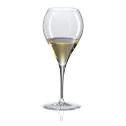 Ravenscroft Amplifier Sauternes Wine Glass - Set of 4 - The Ravenscroft Amplifier Sauternes Wine Glass has a ball-shaped cup that extends gracefully from the shaped stem. The smaller mouth keeps the bouquet in the glass for the best experience. This wine glass is ideal for these grape varietals and wines: Auslese Barsac Beerenauslese Eiswein Late Harvest Gewurztraminer Monbazillac Passito Pedro Ximenez Picolit Quarts de Chaume Sauternes Tokaji and Trockenbeerenauslese.Ravenscroft Crystal is the embodiment of old-world European craftsmanship blended with modern understanding of how a wine glass enhances the tasting experience. Each style of glass that Ravenscroft offers is the result of many years of glass-making trial and error. Each type of glass is individually designed and crafted to enhance the bouquet and taste of the wine or spirit for which it was made. The combination of being perfectly formed and light to the touch allows the bouquet to deliver the essence of the wine and spirits to the proper zones of the palate. To reduce the transfer of hazardous toxins into the beverage all Ravenscroft crystal products are lead-free.