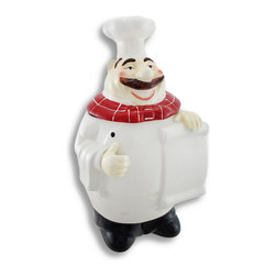 Zeckos - Cute Ceramic Cheerful Chef Cookie Jar - This is one jolly old chef that is sure to make you smile He is a rather rotund fellow with a nice full mustache and red striped scarf that easily compliments your existing kitchen decor. Made of ceramic and hand-painted, he will hold plenty of cookies at 13 inches high, 7 inches long, and 6 1/2 inches deep. This is no mystery cookie jar either, you can let the contents be known by writing it on the plain 'menu' he holds in his hand (permanent marker is not suggested), or jot down a personal message Don't forget to share This cheerful chef cookie jar makes a great gift