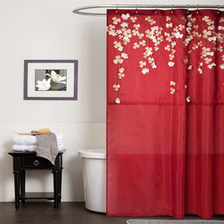 Lush Decor - Lush Decor Flower Drop Red Shower Curtain - Flower drop shower curtain constructed with faux silk, detailed floral embroidery and 3D flower applique. Sophisticated and elegant, the 3D flower applique look like beautiful flowers dropping from the top.